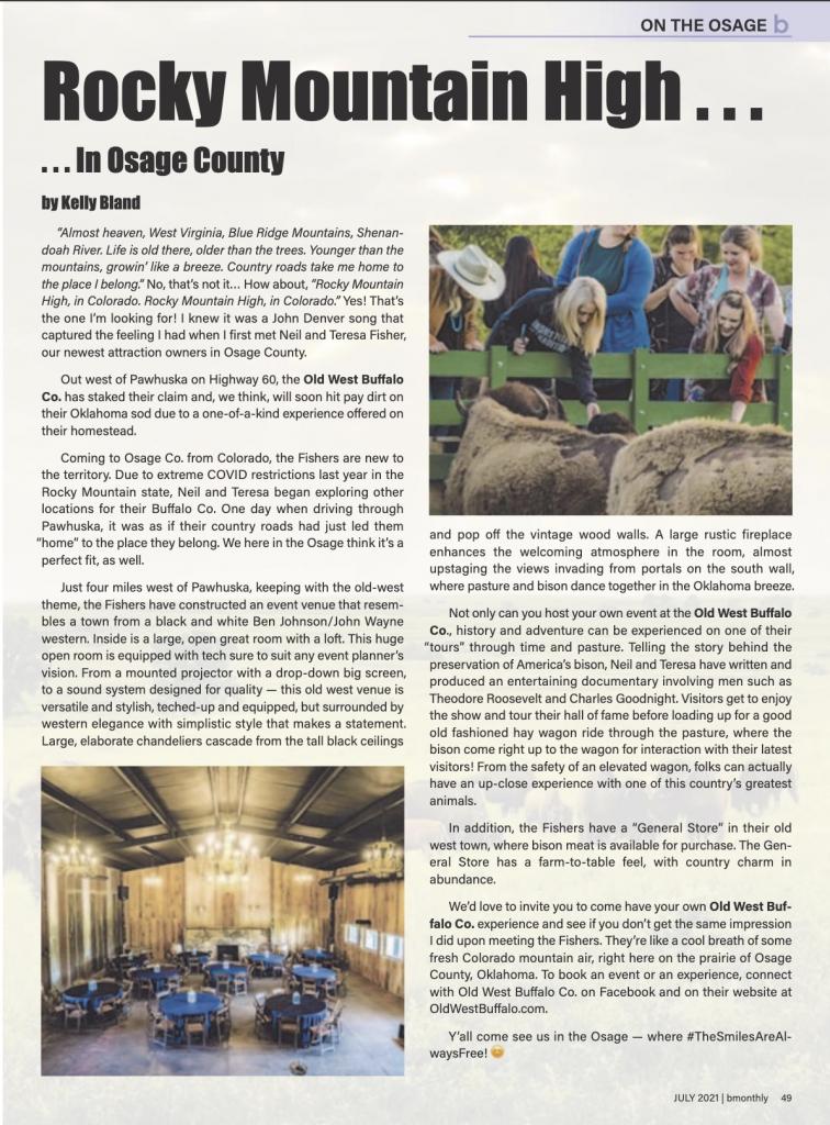 magazine article old west buffalo co